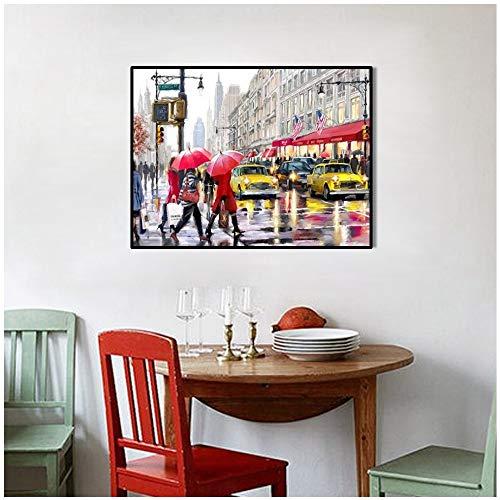 Geiqianjiumai Nordic moderne stad Rue landschap muurschildering, kunstdruk, handbeschilderd, groot canvas, foto, keuken zonder lijst