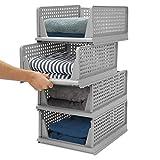 Kleiderschrank Organizer Regal,Stapelbare Aufbewahrungsboxen, Garderobe Schrank Organizer,Badezimmer Aufbewahrungskorb Stapelbar für Küche,Schlafzimmer (Grau, 4-teiliges Set)