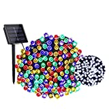Luces Exterior Solar, Guirnalda Luces Exterior Solares LED Jardin 22m 200 LED 2 Cambio de Color 8 Modos Impermeable Cadena de Luces Blanco and Colores Decoración [Clase de eficiencia energética A+++]