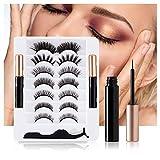 Magnetic Eyelashes with Eyeliner Kit, Waterproof Liquid Eye Liner, 7 Pairs No Glue Reusable Lashes( False Eye Lash),Easy to Wear, (Free Tweezers)