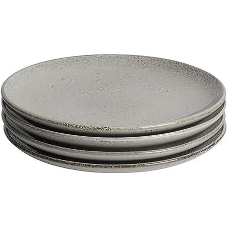 ProCook Oslo Coupe - Vaisselle de Table en Grès - 4 Pièces - Assiette Plate - 24cm - Glaçure Réactive - Gris