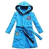 FEETOO] Equipe de Football Brodé Garçon Peignoir de Bain Robe de Nuit pour Enfants (12, Blue)