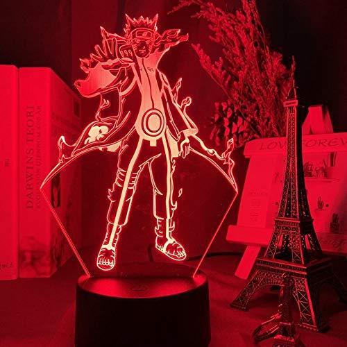 3D Night Lights for Girls Boys Anime Japanischer Anime Naruto Kurama Abbildung 3d Lampe Nachtlicht Geschenk für Kinder Kind Dekoration Farbe ändern Led Nachtlicht