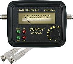 DUR-line® SF 2450 B - Satfinder - przyrząd pomiarowy z gumową osłoną ochronną do dokładnej regulacji cyfrowej anteny satelitarnej - wysoka czułość - w tym kabel F i świetne instrukcje