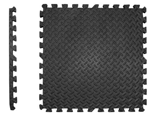 Schutzmatten Set EXTRA DICK - 2cm - PREMIUM Fitness Geräte Unterlegmatte 4 St. EXTRA LARGE 60x60cm 1,5m² schwarze Bodenschutzmatten zusammenstecken Indoor Outdoor