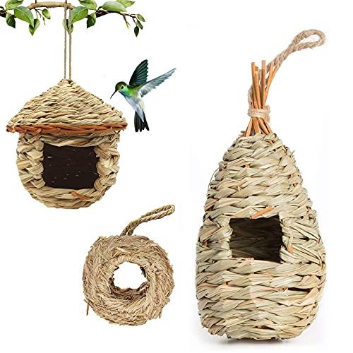 Barley Ears Gras Vogel HüTte, Ruhe Platz für VöGel, Handgewebte Vogel HäUser Nest Perfekt für Fink & Kanarienvogel