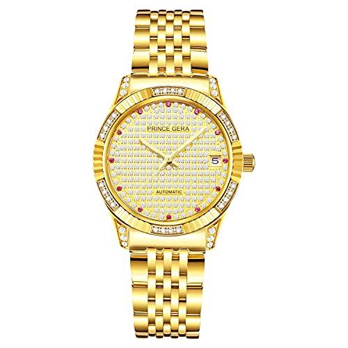 HAOHANYOUPIN Relojes de Relojes de 18k Chapado en Oro Calendario Fecha DIRECTOS AUTOMÁTICOS MECÁNICOS ANALÓGICOS A Prueba de Agua Relojes de Pulsera Correas de Reloj (Size : Women)