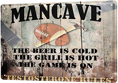 Tin Sign Metal Sign Aluminum Wall Art Poster Fun Ravtive Rugby Beer BBQ Rules for Garage Man Cave Beer Cafe Bar Pub Club Home Decor 8