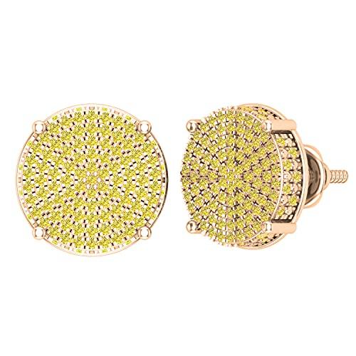 Dazzlingrock Collection Pendientes de tuerca redondos de 0,50 quilates de diamantes amarillos redondos con forma de círculo, de 1/2 quilates, oro rosa de 18 quilates