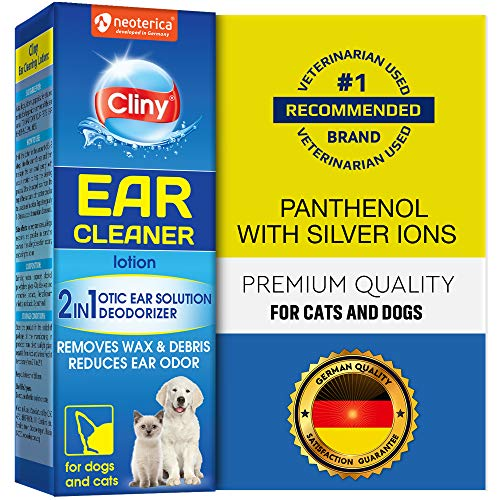 Cliny Universal Ear Cleaner for Dogs and Cats - New Formula Ear Solution Drops - Otic Infection Treatment for Pets- Effective Against Mite, Yeast & Natural Odor Control Lotion