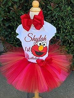 Elmo tutu outfit, elmo birthday tutu outfit