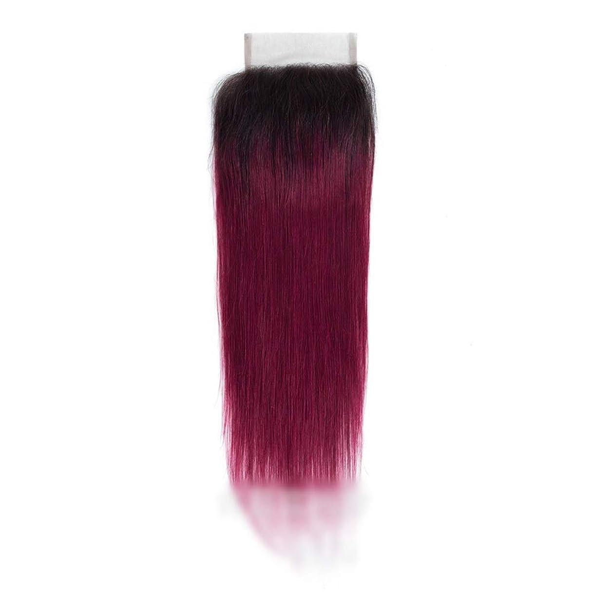 ファセット百年独占Vergeania レースの閉鎖とストレートオンブルバージンヘア、人間の髪の毛1B /バグ2トーン、オンブルヘアエクステンション織り横糸ロングストレートヘア (Color : ワインレッド, サイズ : 14 inch)