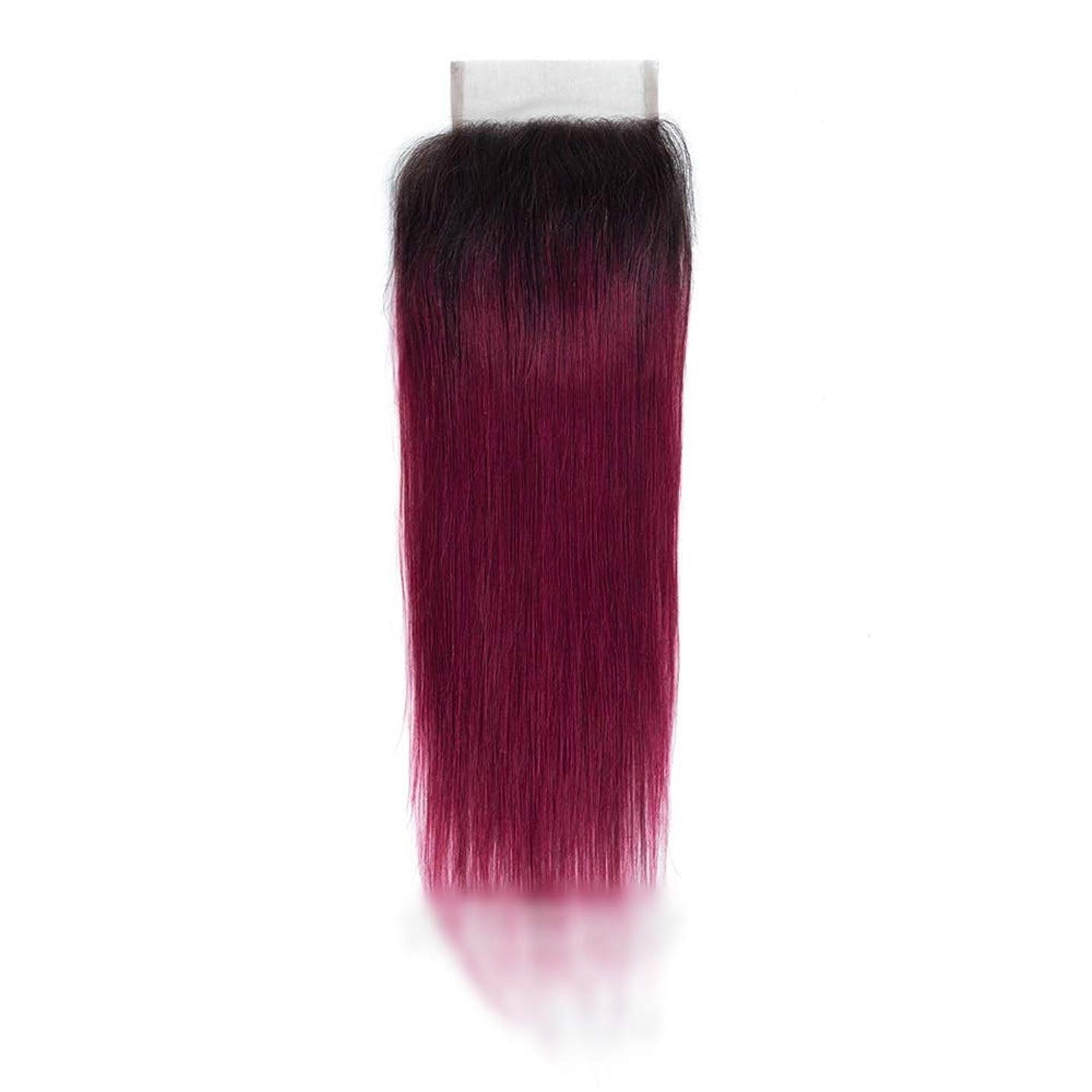 酔うフォーカス楽観的YESONEEP レースの閉鎖とストレートオンブルバージンヘア、人間の髪の毛1B /バグ2トーン、オンブルヘアエクステンション織り横糸ロングストレートヘア (Color : ワインレッド, サイズ : 18 inch)