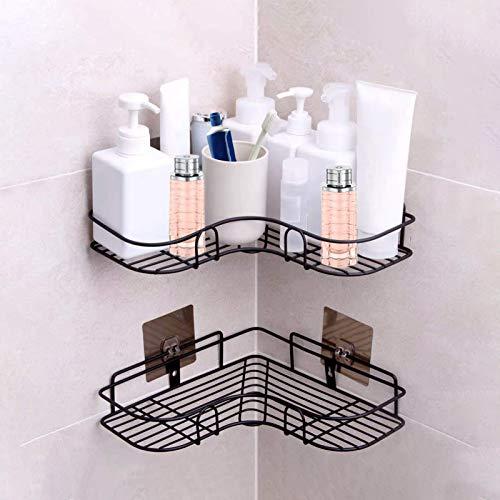 Mutiwill Duschregal Eckregal Aufbewahrungskiste Badezimmerregal Duschwanne mit 6 Haken für Küche und Bad