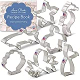 Ann Clark Cookie Cutters Juego de cortadores de galletas bajo el mar con libro de recetas - 7 piezas - Concha marina, pulpo, caballito de mar, tiburón, estrella de mar, tortuga y cola de sirena
