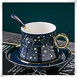 JJIU Nuevo Juego De Tazas De Té De Porcelana De Punto Dorado De Porcelana, Accesorios De Cocina Nórdicos para El Hogar, Decoración, Juego De Café Personalizado, Taza De Regalo De Lujo (Color : Blue)