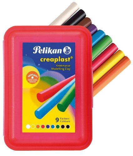 Pelikan 619890 - Knete Creaplast 14 Stangen in roter Kunststoffbox, 9-farbig