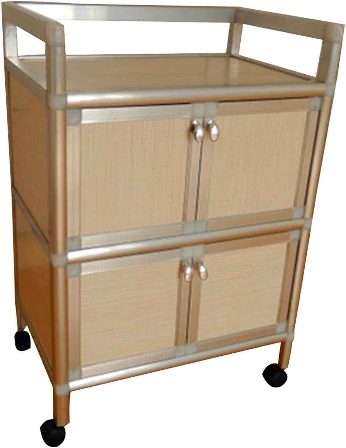Serving Trolley Cart Mobile Kitchen Stainless Steel Solid Wood Square Double Storey Locker Universal Wheel 3 Tier Storage, Carrying Capacity 40 Kg (color   White, Size   49 x 33 x 71 cm)
