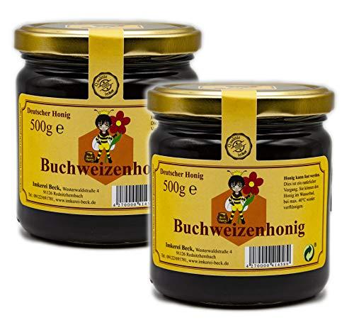- Dunkler, fast schwarzer, kräftig würziger Buchweizenhonig / 2 x 500g Honig vom Imker aus Bayern