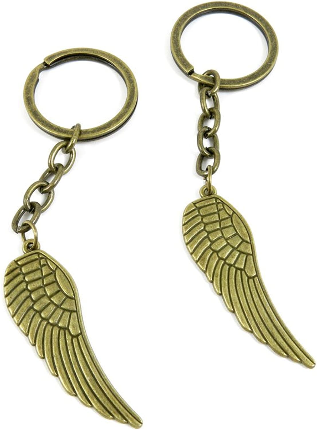 80 PCS Keyring Car Door Key Ring Tag Chain Keychain Wholesale Suppliers Charms Handmade L5PW3 Angel Wings