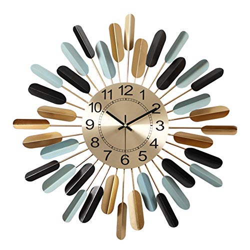 A-GHM Clock Wall Clock Modern Contemporary Big Creative Personalized Non Ticking Battery Operated Living Room Office Wrought Iron Art Decorative Clocks 3D