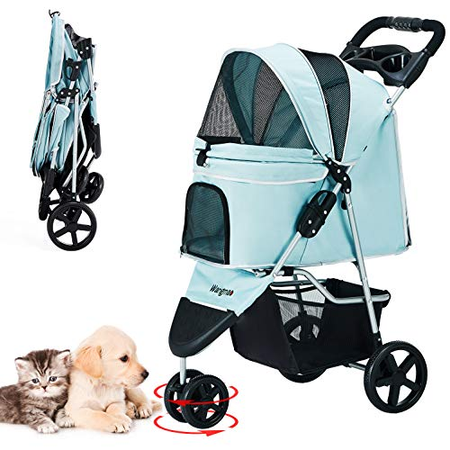 Pet Stroller, Cat Dog Stroller with Storage Basket Foldable Lightweight Dog Carrier...