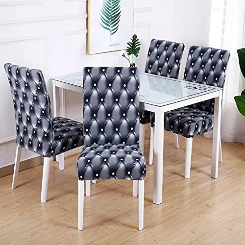 Funda de Silla geométrica Spandex para Comedor Material elástico Fundas Modernas Fundas para Muebles Banquete de Boda A14 4 Uds