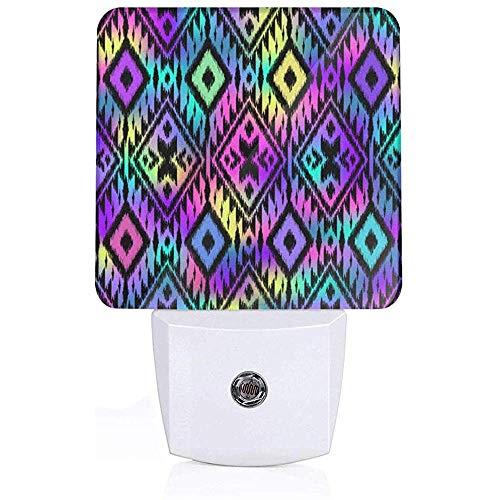 Aztekische Tribal Style traditionelle ethnische Volksmotiv Plug-in Nachtlicht Lampe mit Lichtsensor