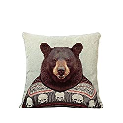 Funny bear gift pillow with bear in Christmas sweater