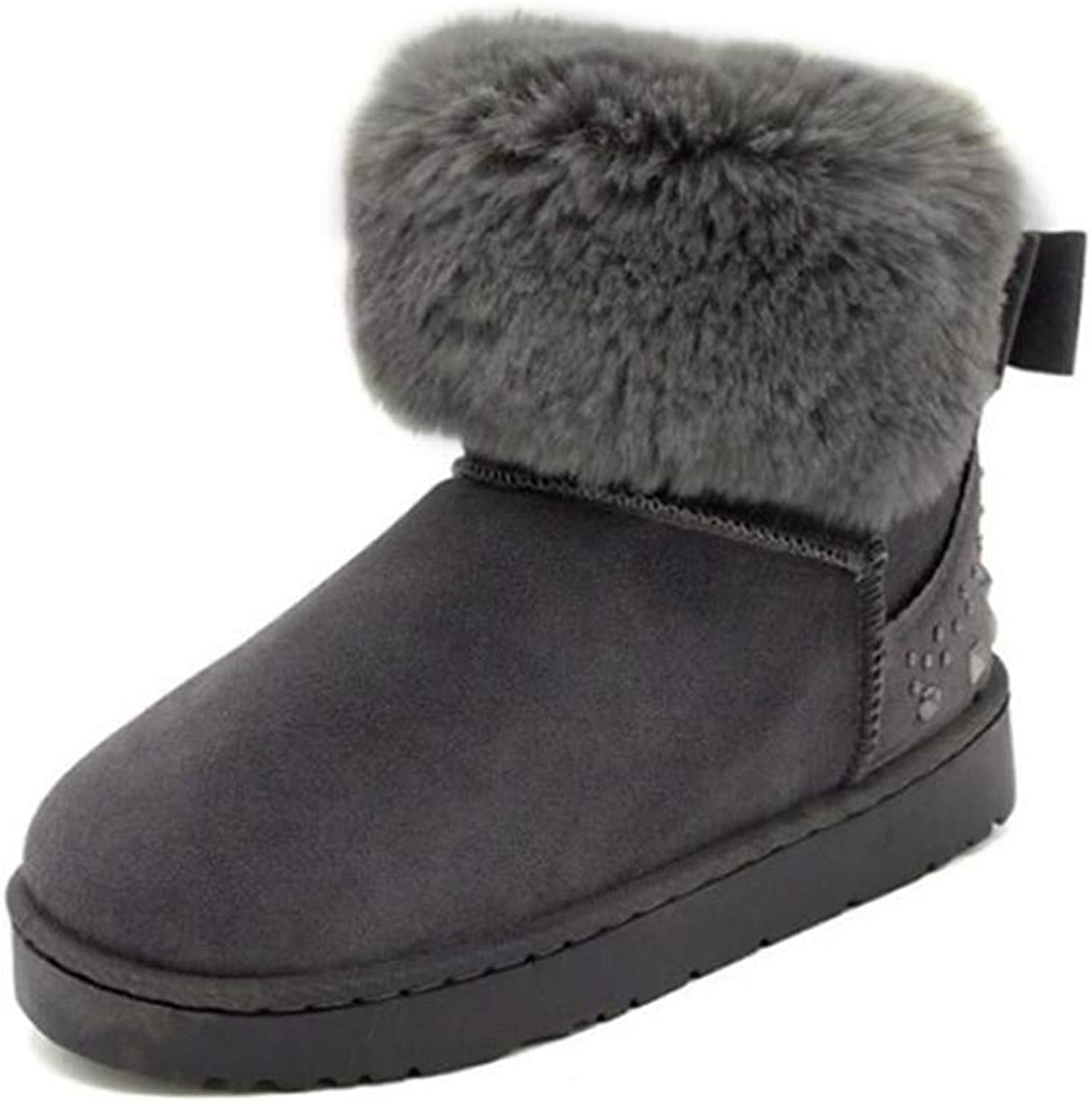 Fay Waters Women's Winter Snow Boots Fur Lined Bow with Diamonds Outdoor Cotton shoes Ankle Booties