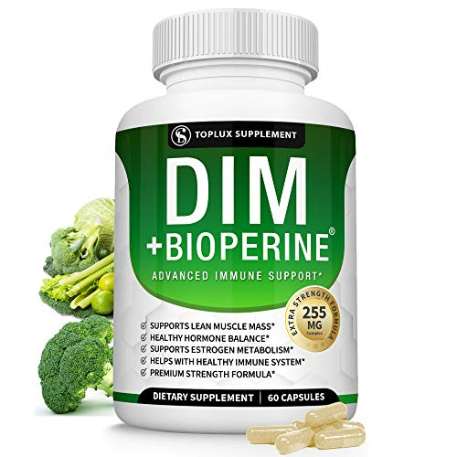 Dim Supplement Plus BioPerine Complex 255 mg - Premium Diindolylmethane Immune Formula for Hormone and Estrogen Balance, Helps with Menopause and Acne Treatment, for Men Women (One Bottle)