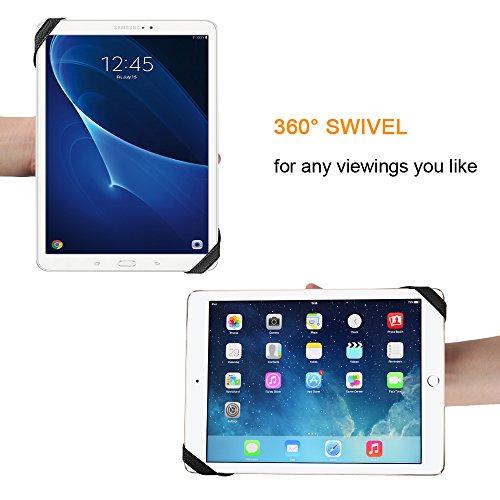 Fintie Universal Tablet Handschlaufen Halter, 360 Grad Drehung Kunstleder Griff mit elastischem Gürtel, sichere Tragbarkeit für alle 9-10 Zoll Tablets (für Samsung ipad Lenovo Huawei Asus), Schwarz