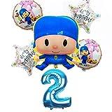 ZJWDM 6Pcs / Lot Globos De Papel De Aluminio Pocoyo Set Baby Shower Fiesta De Cumpleaños Bautizo Decoración Suministros Niños Figura De Dibujos Animados Estilo A2