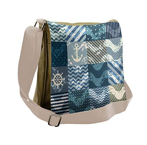 Ambesonne Nautical Messenger Bag, Anchor Grunge Naval, Unisex Cross-body
