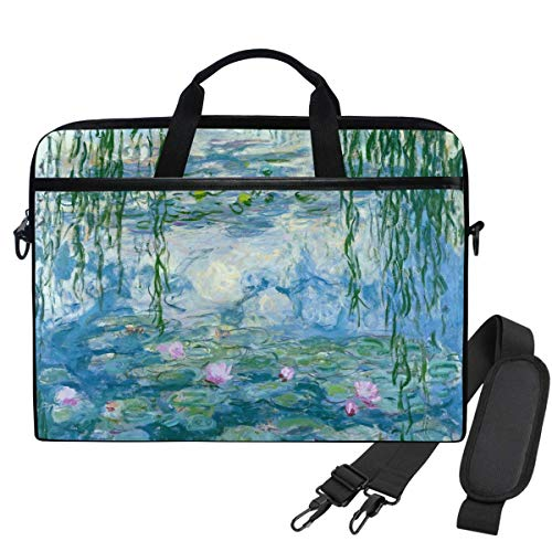 Monet Water Lilies Willow Floral Spring Laptop Shoulder Messenger Bag Case Sleeve for 15.6 Inch Laptop Briefcase