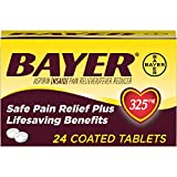 Genuine Bayer Aspirin 325mg Coated Tablets, #1 Doctor Recommended Aspirin Brand, Pain Reliever and Fever Reducer, 24 Count