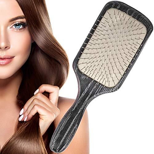 Carré Brosse à cheveux de massage Peigne Bois Aiguille En Acier Airbag Peigne -Antibactérienne Anti statique,pour tous les types de cheveux améliorer la pousse des cheveux
