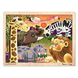 Melissa & Doug African Plains Wooden Jigsaw Puzzle (Preschool, Sturdy Wooden Construction, 24 Pieces, 15.55″ H × 11.6″ W × 0.35″ L, Great Gift for Girls and Boys - Best for 3, 4, and 5 Year Olds)