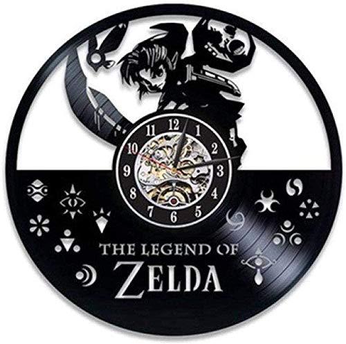 ZYBBYW Vinyl Wanduhr-Zelda Wanduhr-Retro Vinyl Schallplatte Wanduhr-Geschenk Dekoration Uhr-with_Led_Light