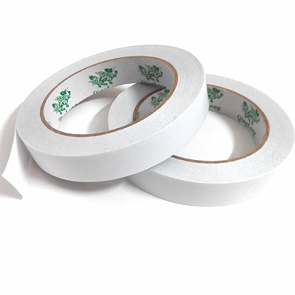 Double-Sided Adhesive Sticky Tape, QingLong(Green Dragon) Premiun Permanent Double Sided Tape For Photos/ Documents/ Wallpaper And Many Other Craft Projects (3/4 inch x 27 yards) (18mm x 25m) (2 Rolls)