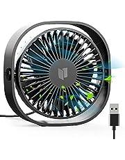 RATEL USB-tafelventilator, 4,84 inch mini-bureauventilator met 3,94 m lange kabel, draagbaar en persoonlijk voor thuis en op kantoor, rustig en krachtig, zwart