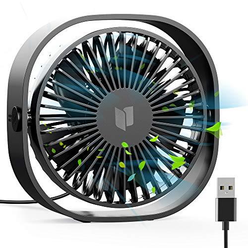 RATEL Ventilador de Mesa USB, Ventilador de Escritorio 12.5 cm Use con Cable de 1.2 Metros, portátil y Personal para el hogar y la Oficina Silencioso y Potente, lo enfría en el Verano Caliente, Negro