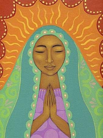 Feelingathome- IMPRESION-SOBRE-LIENZO-100% algodon-Virgen-de-Guadalupe-cm77x57-cuadro-reproduccion-en-lienzo-ENMARCADO