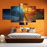 GHDE& 5 Stück Teldrassil Brennen World of Warcraft Schlacht um Azeroth Spiel Plakate Segeltuch Gemälde Wandkunst zum Wohnkultur,A,40 * 60 * 2+40 * 80 * 2+40 * 100 * 1