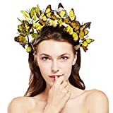 Coucoland Schmetterlings Halo Haarreif Damen Blumen Schmetterling Fascinator Stirnband Englische Tee Cocktail Party Haarband Damen Fasching Karneval Kostüm Haar Accessoires (Gelb)