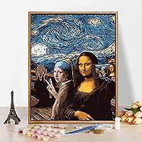 DIY 数字油絵 キャンバスの油絵 大人の子供のためのギフト 数字キットでペイント ホームデコレーション - 40* 50 cm マウント&フレーム&箱