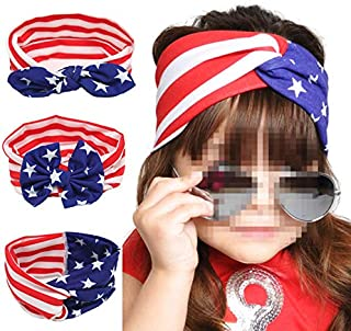 Astra Gurmet 3 Pack of the Stars and Stripes Headbands - American USA Flag Bowknot Bandana Headbands for Fourth of July, Patriotic Hair Accessories Hairbands for Baby Girls