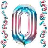 Siumir Globo de Número Globo Digital Gigante 40 Pulgadas Arcoiris Gradient Papel De Aluminio Globo Decoración de Fiestas de Cumpleaños (Número 4)