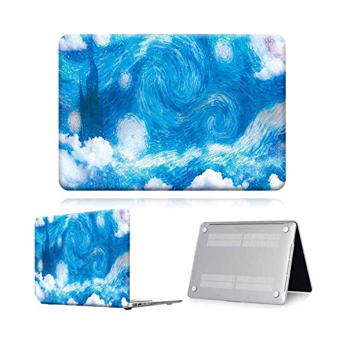 Case for Macbook Air Pro Retina 11 12 13 15 Touch Bar Painting Laptop Case Cover + Keyboard Protector for Air 13 (A 1932) A2179-Light Sky Paint-Air 11 A1370 A1465