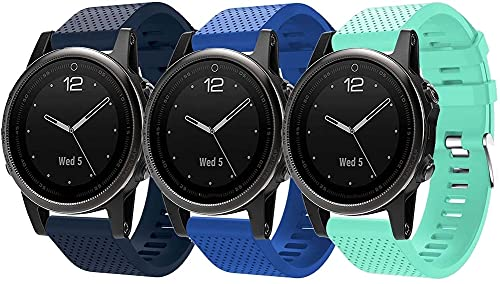 Classicase Repuesto de Correa de Reloj de Silicona Compatible con Garmin Fenix 6S Pro/Fenix 6S / Fenix 5S/5S Plus (42MM), Caucho Fácil de Abrochar para Relojes y Smartwatch (3-Pack J)